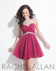 Chiffon sweetheart cut with sheer neckline and AB stones. Shown in Cranberry Silver and it's at Rsvp Prom and Pageant, Atlanta, GA!