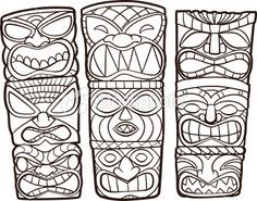 tiki head coloring pages - Google Search                                                                                                                                                                                 More