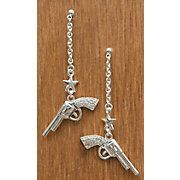 Montana Silversmiths® Silver Dangle Cowgirl Pistols and Stars Rhinestone Earrings $25
