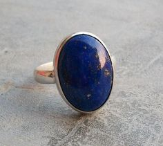 Lapis Lazuli Ring - Lapis ring - Bezel set ring - Oval ring - Natural gemstone ring - Sterling silver ring - Birthday gift on Etsy, $55.00