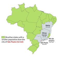 Brazilian states with a smaller population than São Paulo