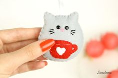 Check out our felt cat ornament selection for the very best in unique or custom, handmade pieces from our shops. Cat Christmas Ornaments, Felt Ornaments, Felt Christmas, Christmas Crafts, Sewing Crafts, Sewing Projects, Sewing Ideas, Cat Keychain, Ornament Hooks