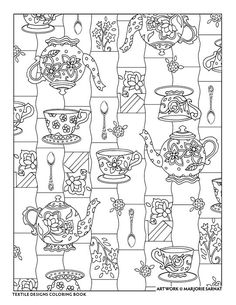 """Creative Haven Textile Designs Coloring Book by Marjorie Sarnat, """"Teapot and Cups"""""""