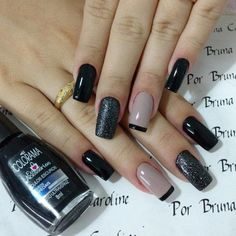 Unhas fáceis de decorar: tutoriais e 50 modelos para se inspirar - Nails, Ногти, Tırnak sanatı - Nail Art Designs, French Tip Nail Designs, Long Nail Designs, Acrylic Nail Designs, Acrylic Nails, Nails Design, French Nails, Gel Nail Art, Nail Polish