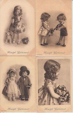 KATHE KRUSE DOLLS 4  Vintage Postcards pre-1940 Printer A.R. @ Co.