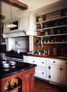 19th century style kitchen painted with milk paint and aged for affect