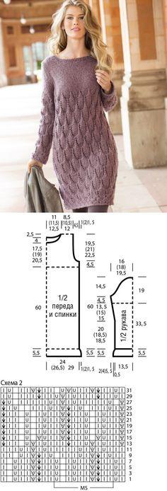 """- El vestido con la cinta de 'las hojas' – el esquema de la labor de punto por l… Kleid mit einem Klebeband aus """"Blättern"""" – Schema des Strickens durch Blitz. Wir stricken Kleider in Verena. Lace Knitting Patterns, Knitting Charts, Knitting Designs, Knitting Yarn, Dress Patterns, Knitting Ideas, Knitting Sweaters, Knitting Dress Pattern, Coat Patterns"""