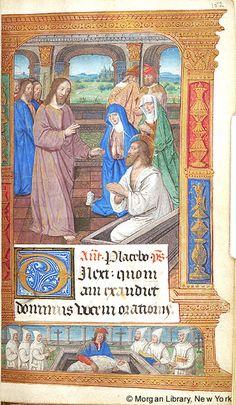 Sv. Marta ~ St. Martha; Vzkřísení Lazara; Kniha hodinek, 1500, Francie, Paříž; The Morgan Library & Museum