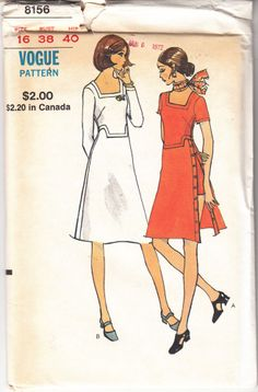 Dress Shorts A Line Semi Fitted Vintage Vogue Sewing Pattern 8156 Uncut Sz 16