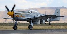"""FlightAware Aviation Photos: North American Just becoming airborne, """"Little Horse"""" / takes off to participate in the Texas Flying Legends Museum performance at the 2017 Reno Air Races. Reno Air Races, P51 Mustang, Wwii, Fighter Jets, Aviation, Aircraft, Racing, Military, Spacecraft"""