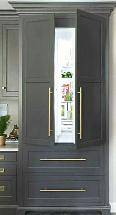 gray and white kitchen with built in refrigerator cabinet - Home Decor Ideas Home Design, Küchen Design, Layout Design, Interior Design, Design Trends, Design Ideas, Colour Trends, Design Inspiration, Refrigerator Cabinet