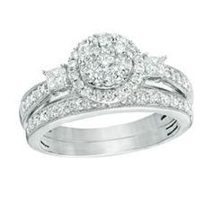 1 Ct Round D/VVS1 Simulated Diamond Flower Bridal Set In 10K White Gold by JewelryHub on Opensky