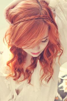 red hair, curled, waved, plait, pretty