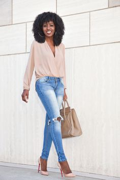 Long Sleeve Faux Wrap Blouse   Ripped Skinny Jeans