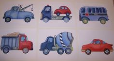 6 transportation cars trucks red and blue mixer dump tow truck art prints. $28.00, via Etsy.