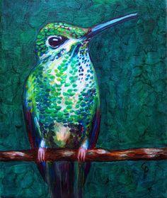 Hummingbird  oil painting 8x10