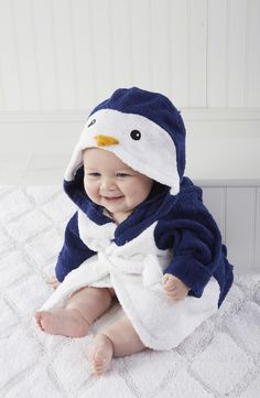 Free shipping and returns on Baby Aspen 'Wash & Waddle' Penguin Hooded Terry Robe (Baby) at Nordstrom.com. A precious penguin robe gives your little water-lover warm snuggles after bath time.