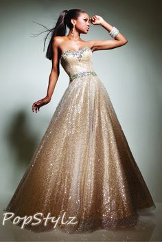 Tony Bowls Gold Ball Gown - 113513