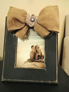 Vertical Black distressed frame with burlap bow and by katieruebel, $40.00