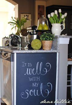 Chalkboard wall on end of cabinets. http://1.bp.blogspot.com/-8KazZsOErUI/TyN7nDUs3qI/AAAAAAAAIcQ/XvN29ijGOnE/s1600/zDSC_0930.jpg
