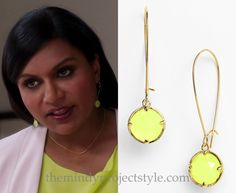 """Mindy matched her neon earrings to her top and skirt and shoes in """"Crimes & Misdemeanors & Ex-BFs""""./// Kate Spade Fluorescent Drop Earrings (was $88, sold out) Worn with Karen Millen skirt"""