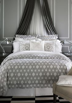 Love the Curtains behind the bed.
