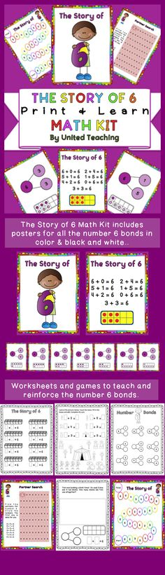 The Story of 6 Math Kit >> Teach number 6 bonds using posters, games, and worksheets >> United Teaching >> Common Core Standards - CCSS.Math.Content.K.OA.A.3 - CCSS.Math.Content.1.OA.A.1