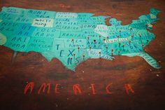 Traveler's Map of America by Olivers Jeffers: Map on wood with push pins! Love it!
