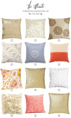 Read More on SMP: http://www.stylemepretty.com/living/2013/10/07/the-ultimate-throw-pillow-round-up-under-50/