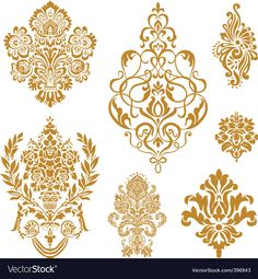 Royalty-Free Vector Clip Art Illustration of a Digital Collage Of Gold Damask Design Elements by BestVector Stencil Patterns, Stencil Designs, Embroidery Patterns, Damask Patterns, Arte Linear, Stencils, Free Collage, Digital Collage, Motif Floral