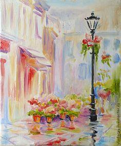 """картина """"Розовый город. Дождь"""" - купить картину маслом,картина для интерьера"""