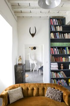 couch, bookshelves, white walls