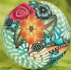 OOAK Polymer Clay Smooth Circle Focal Bead