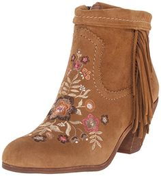 Sam Edelman Women's Letti Boot, Whiskey, 6 M US. Suede ankle boot with embroidered-floral design and fringe trim. Fringe Ankle Boots, Suede Ankle Boots, Suede Booties, Bootie Boots, Oxford Shoes Outfit, Casual Oxford Shoes, Sam Edelman Boots, Edelman Shoes, Suede Leather Shoes