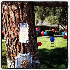 Boy's Knights and Dragons Birthday Party Welcome Decor Ideas