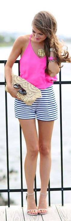 Hot Pink And Stripes Outfit by Southern Curls and pearls