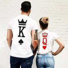 King&Queen Couple T-shirts! Stylish and comfortable with matching couples shirts! All shirts are made from high-quality fabric to prevent fading, Cotton and Polyester. Cute Couple Shirts, Couple Tees, Couple Clothes, Diy Clothes, Matching Couple Outfits, Matching Couples, Disney Couple Outfits, T-shirt Paar, T-shirt Couple