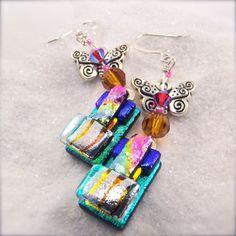 Butterfly earrings Dichroic glass earrings by HanaSakuraDesigns Dichroic Glass Jewelry, Glass Earrings, Statement Earrings, Handmade Jewelry, Unique Jewelry, Handmade Gifts, Butterfly Earrings, Jewerly, Glass Art