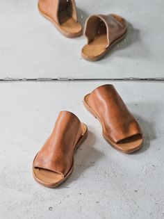 leather slip-ons.
