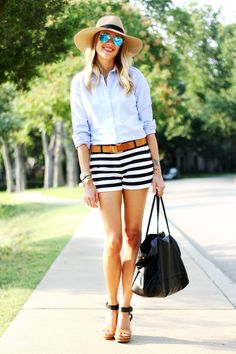 Gap Black And White Stripe Nautical Women's Shorts