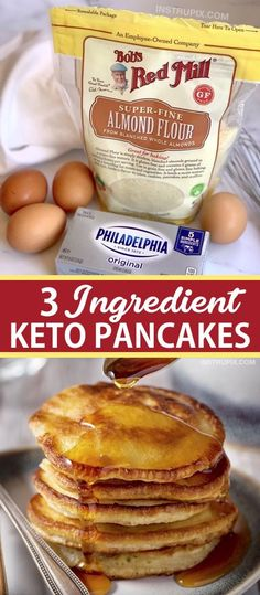 3 Ingredient Keto Pancakes Easy Low Carb Breakfast Idea Looking for easy keto breakfast recipes besides just eggs These quick and easy keto cream cheese pancakes are made. Keto Cream Cheese Pancakes, Low Carb Pancakes, Pancakes Easy, Homemade Pancakes, Breakfast Pancakes, Breakfast Gravy, Mcdonalds Breakfast, Almond Flour Pancakes, Cream Cheese Eggs