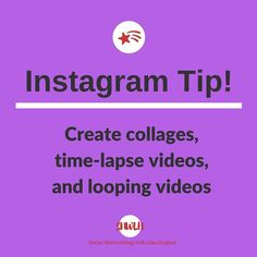 Instagram Tip: Create collages time-lapse videos and looping videos When you post a photo you will notice two icons at the bottom-right corner of an image: one thats an infinite loop which takes you to Instagrams Boomerang app and the other looks like a cube with different shaped compartments within it which takes you to Instagrams Layout app.  To use these two photo apps you will need to download them but they sure add some flavour to your Instagram photos. Boomerang takes a burst of photos…