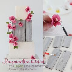 Bougainvillea tutorial - Instructions on how to create gum paste Bougainvillea & assemble them on a cake. Includes painted wood and textured wall effects.