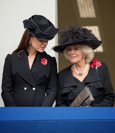 Camilla, Duchess of Cornwall and Catherine, Duchess of Cambridge attend the annual Remembrance Sunday Service at the Cenotaph on Whitehall on 09.11.2014 in London, United Kingdom.