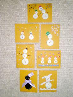 Snowmen handmade mini cards 1,50 €