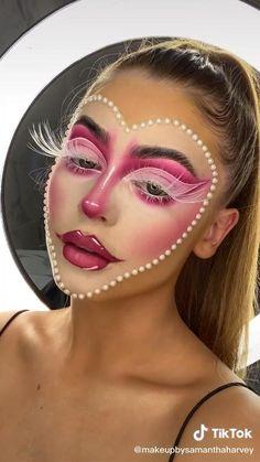 Face Paint Makeup, Eye Makeup Art, Clown Makeup, Ugly Makeup, Half Face Makeup, Haloween Makeup, Round Face Makeup, Media Makeup, Candy Makeup