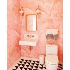 Ideas cuarto de baño de mármol rosa papel tapiz