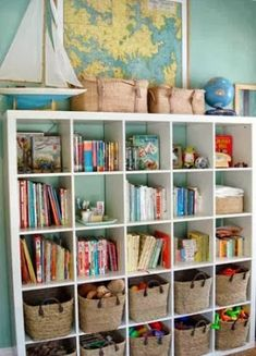 Great kids bedroom toy storage: IKEA Expedit bookshelf + nice looking baskets = play + tidy & organized. From House Crashing: Stunning In Sydney Playroom Organization, Playroom Ideas, Organized Playroom, Office Playroom, Playroom Colors, Office Cube, Ikea Playroom, Colorful Playroom, Office Decor