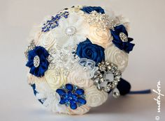 Hey, I found this really awesome Etsy listing at https://www.etsy.com/listing/162238840/sale-brooch-bouquet-ivory-blue-fabric
