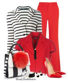 """""""Red with Stripes"""" by honkytonkdancer ❤ liked on Polyvore featuring Alice + Olivia, Steffen Schraut, Philosophy di Alberta Ferretti, Christian Louboutin, Les Petits Joueurs, Kenneth Jay Lane and Warehouse"""
